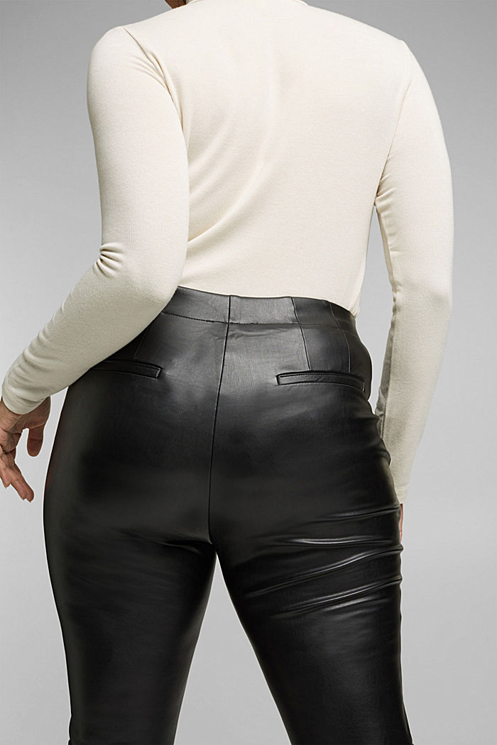 CURVY faux leather leggings, BLACK, detail image number 5