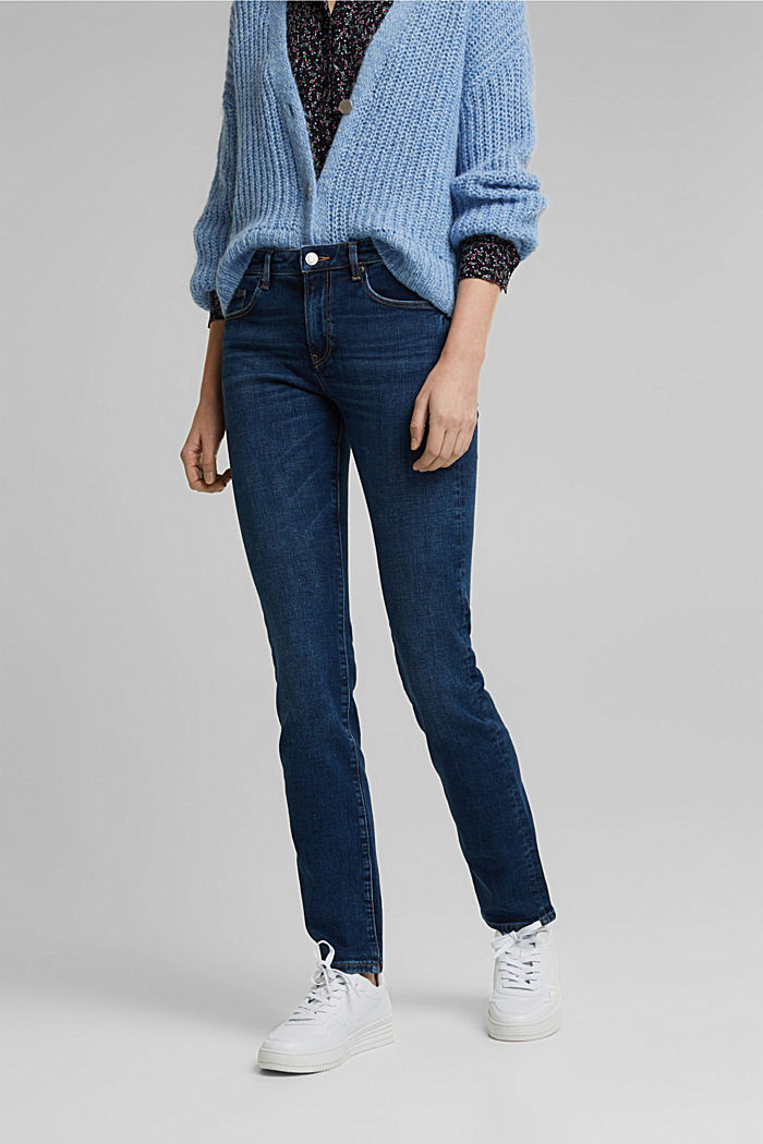 Washed-look stretch jeans, BLUE DARK WASHED, detail image number 0