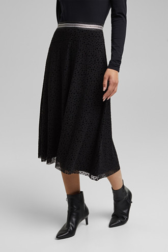 Midi skirt made of mesh with a glitter waistband