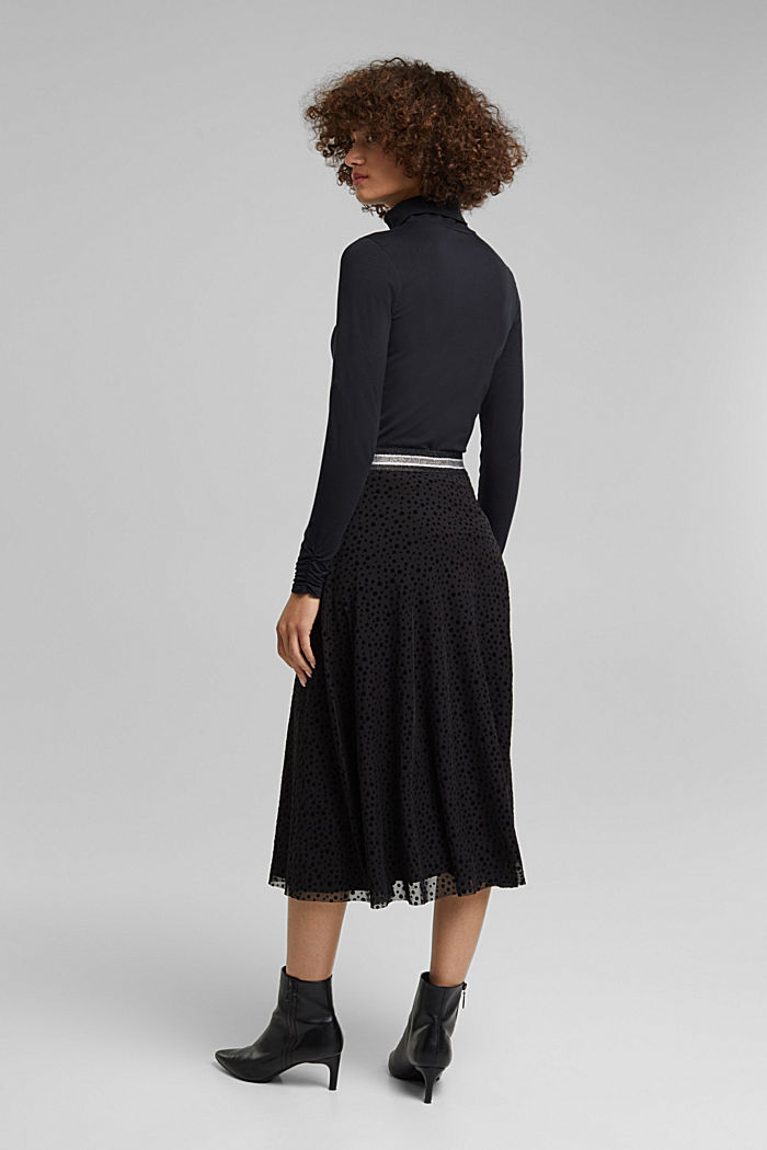 Midi skirt made of mesh with a glitter waistband, BLACK, detail image number 3