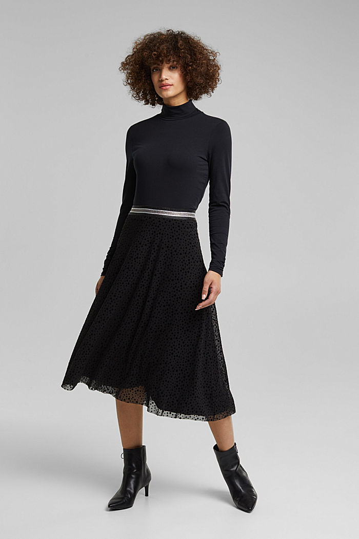 Midi skirt made of mesh with a glitter waistband, BLACK, detail image number 5