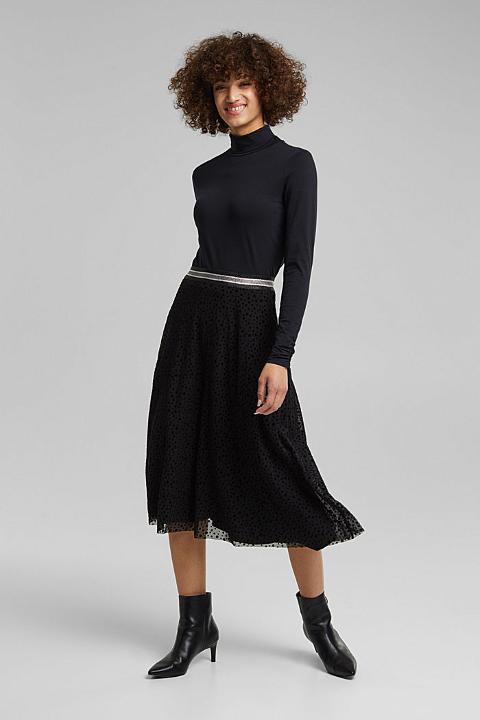 Midi skirt made of mesh with a glitter waistband, BLACK, detail image number 1
