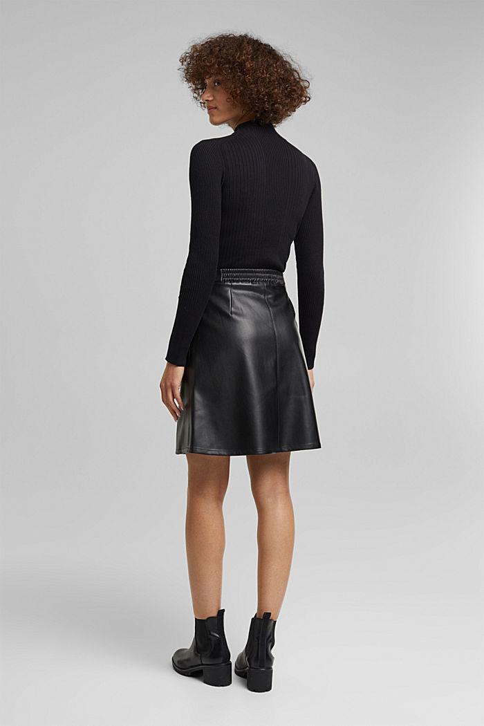 Faux leather mini skirt, BLACK, detail image number 3