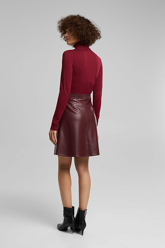 Faux leather mini skirt, BORDEAUX RED, detail image number 3
