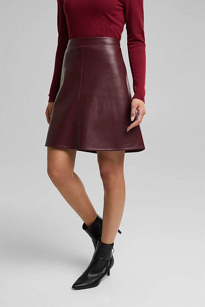Faux leather mini skirt, BORDEAUX RED, detail image number 5
