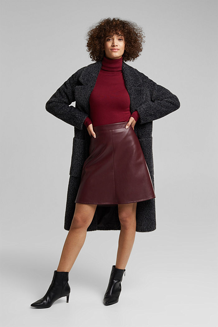 Faux leather mini skirt, BORDEAUX RED, detail image number 1