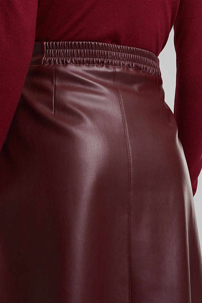 Faux leather mini skirt, BORDEAUX RED, detail image number 2