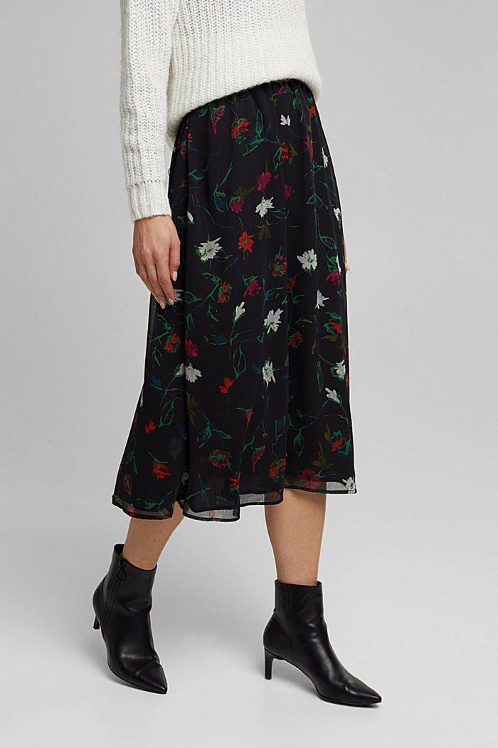 Recycled: midi skirt made of crinkle chiffon