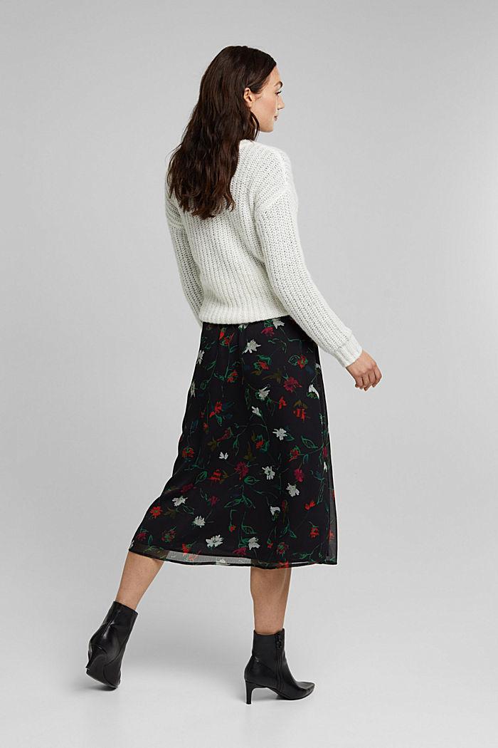 Reciclada: falda midi de gasa con efecto arrugado, BLACK, detail image number 3