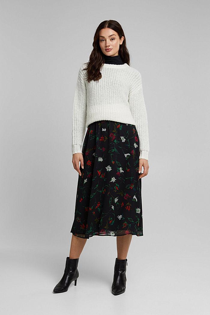 Reciclada: falda midi de gasa con efecto arrugado, BLACK, detail image number 1