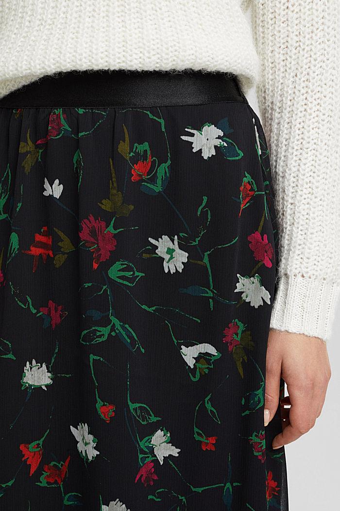 Reciclada: falda midi de gasa con efecto arrugado, BLACK, detail image number 2