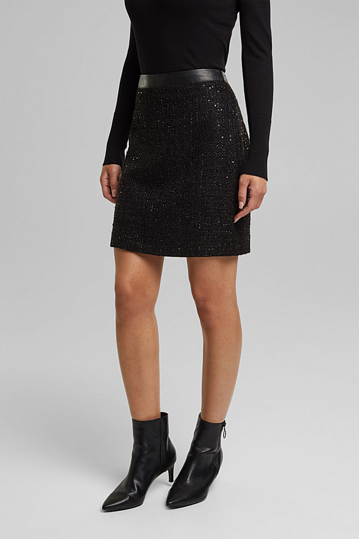 Bouclé mini skirt with sequins