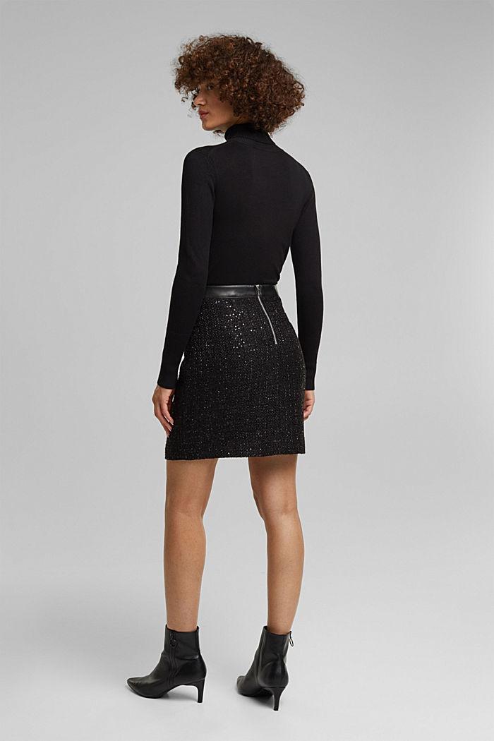 Bouclé mini skirt with sequins, BLACK, detail image number 3
