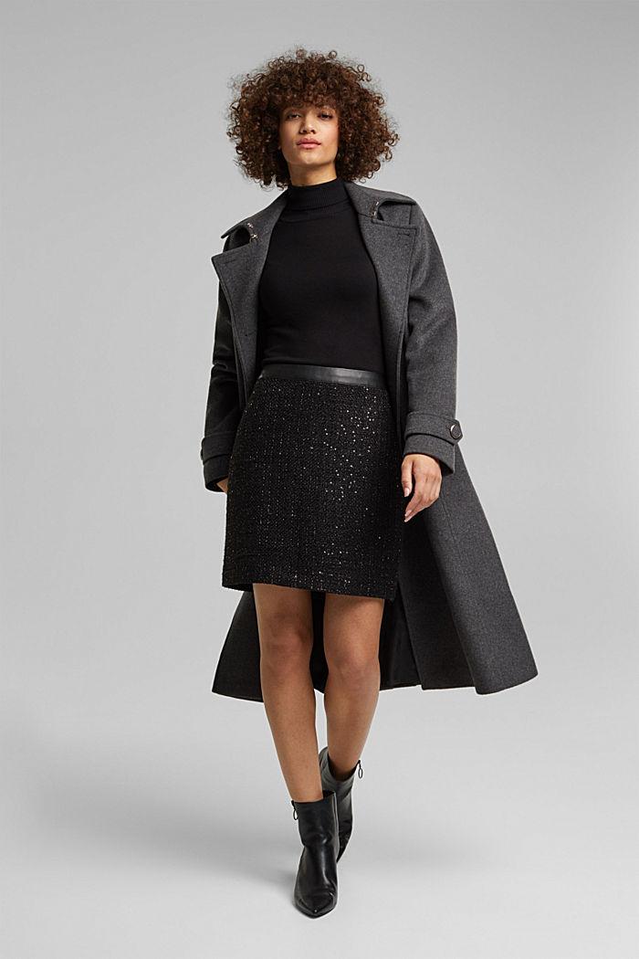 Bouclé mini skirt with sequins, BLACK, detail image number 1