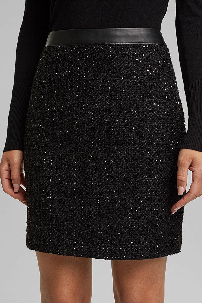 Bouclé mini skirt with sequins, BLACK, detail image number 2