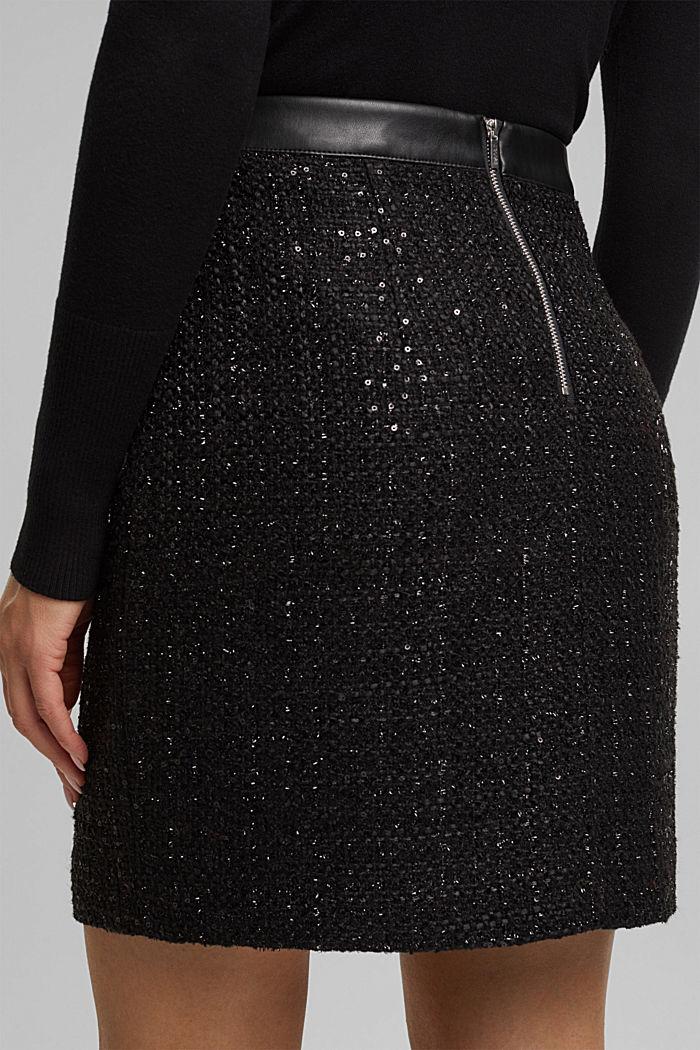 Bouclé mini skirt with sequins, BLACK, detail image number 5