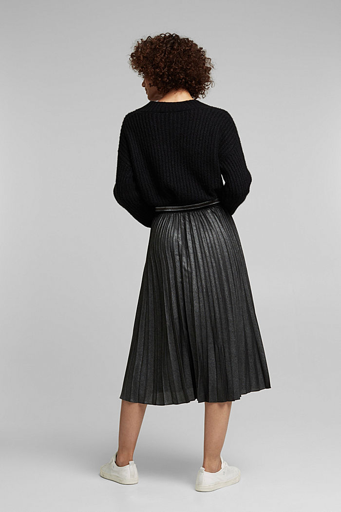 Pleated skirt with an elasticated waistband, BLACK, detail image number 3
