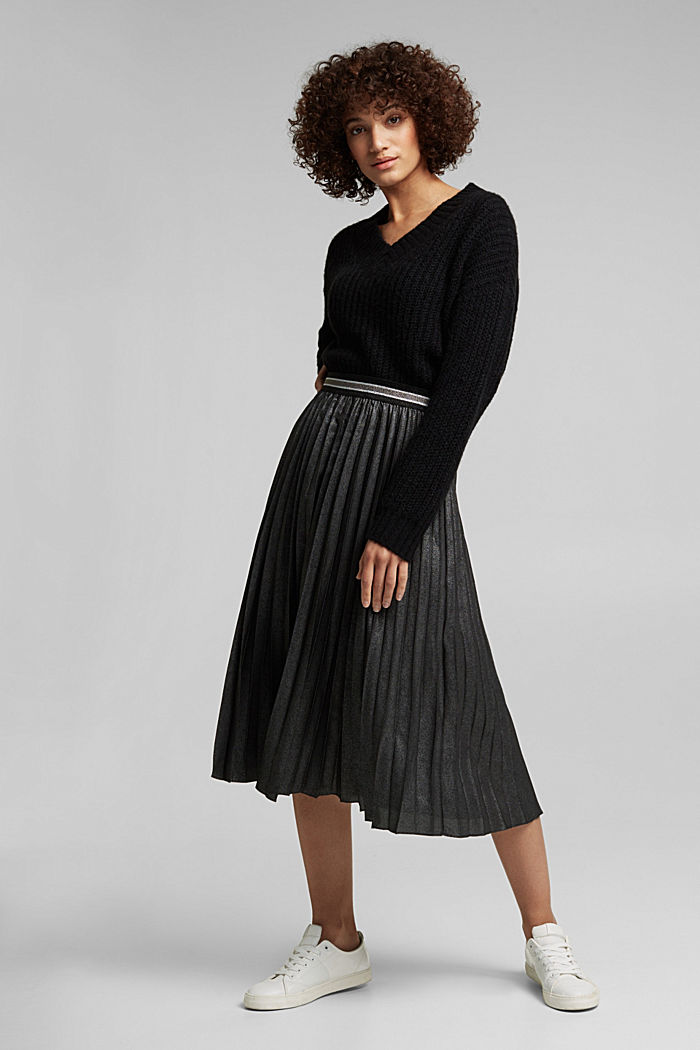 Pleated skirt with an elasticated waistband, BLACK, detail image number 1