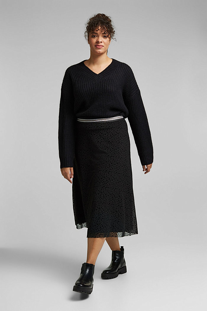 CURVY pleated skirt with a glittering waistband, BLACK, detail image number 1