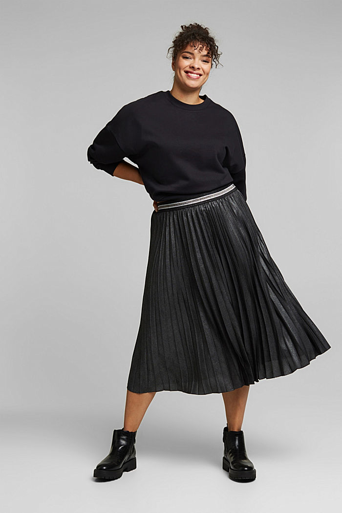 CURVY pleated skirt with glitter, recycled, BLACK, detail image number 1