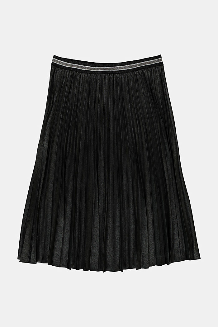 CURVY pleated skirt with glitter, recycled, BLACK, detail image number 5