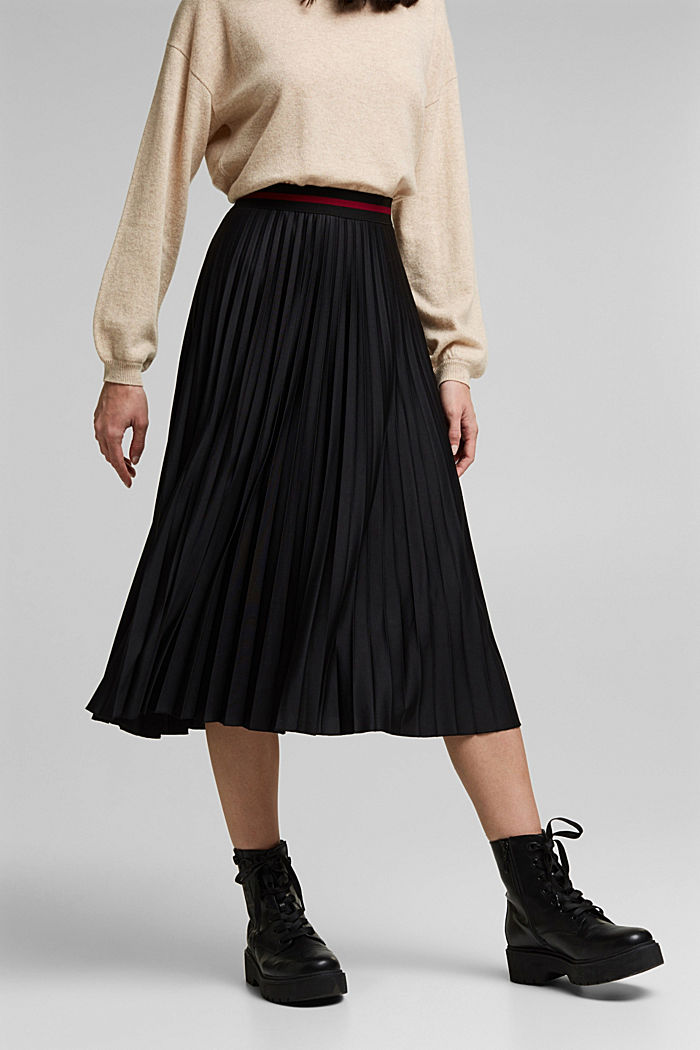 Plissé skirt with sporty elasticated waistband, BLACK, detail image number 0