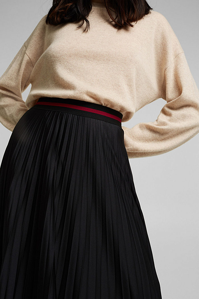 Plissé skirt with sporty elasticated waistband, BLACK, detail image number 2