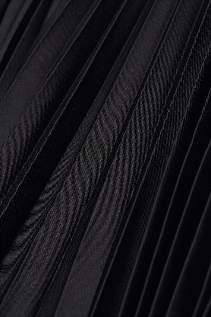 Plissérok met sportieve, elastische band, BLACK, detail image number 4