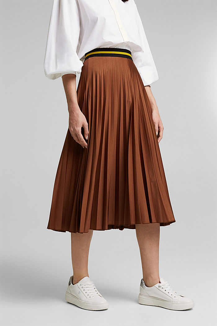 Plissé skirt with sporty elasticated waistband, BROWN, detail image number 0