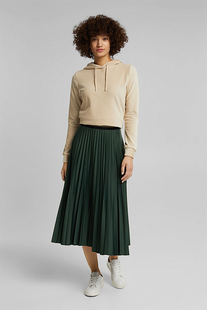 Plissé skirt with sporty elasticated waistband, DARK GREEN, detail image number 0