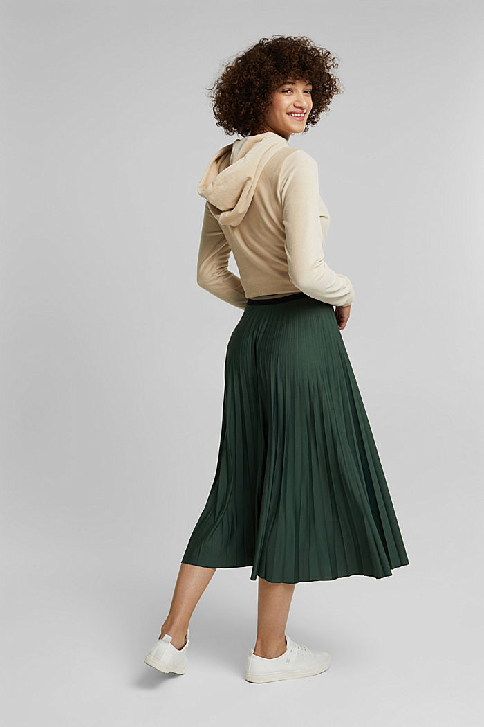 Plissé skirt with sporty elasticated waistband, DARK GREEN, detail image number 3