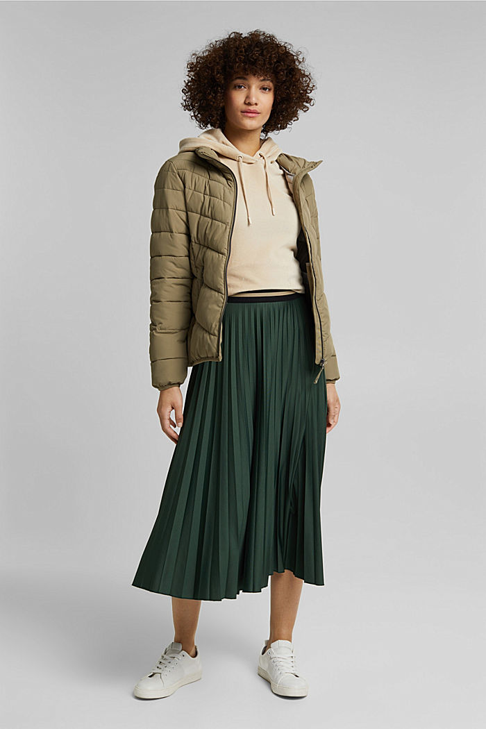 Plissé skirt with sporty elasticated waistband, DARK GREEN, detail image number 1