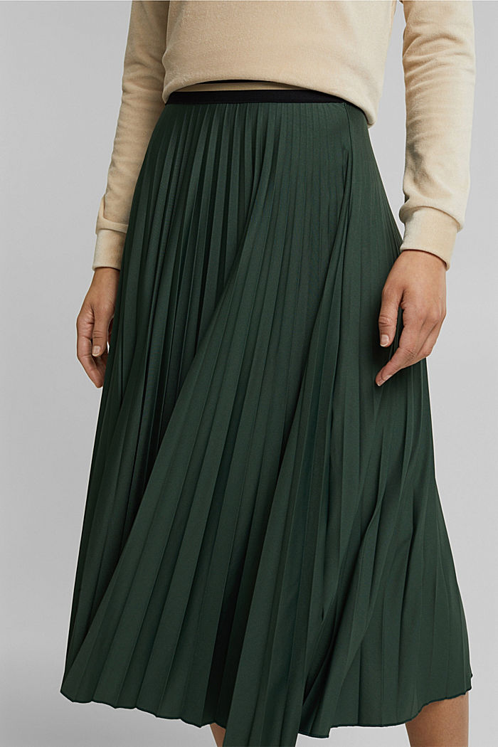 Plissé skirt with sporty elasticated waistband, DARK GREEN, detail image number 2