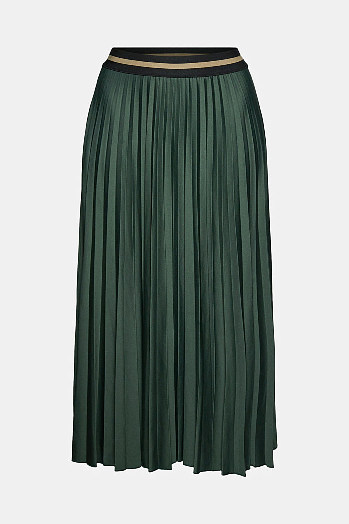 Plissé skirt with sporty elasticated waistband, DARK GREEN, detail image number 5