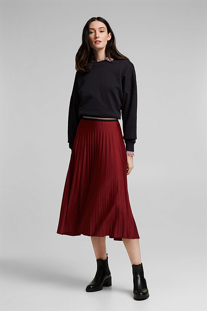 Plissé skirt with sporty elasticated waistband, BORDEAUX RED, detail image number 0