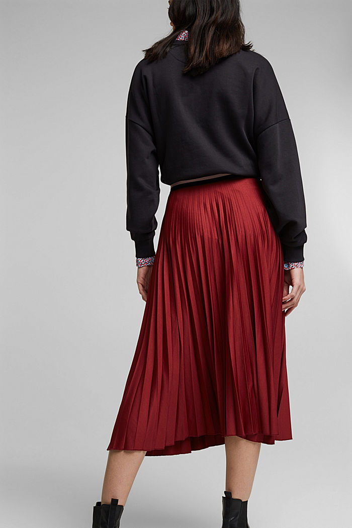 Plissé skirt with sporty elasticated waistband, BORDEAUX RED, detail image number 3