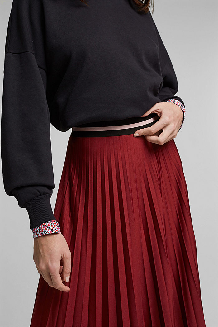 Plissé skirt with sporty elasticated waistband, BORDEAUX RED, detail image number 2