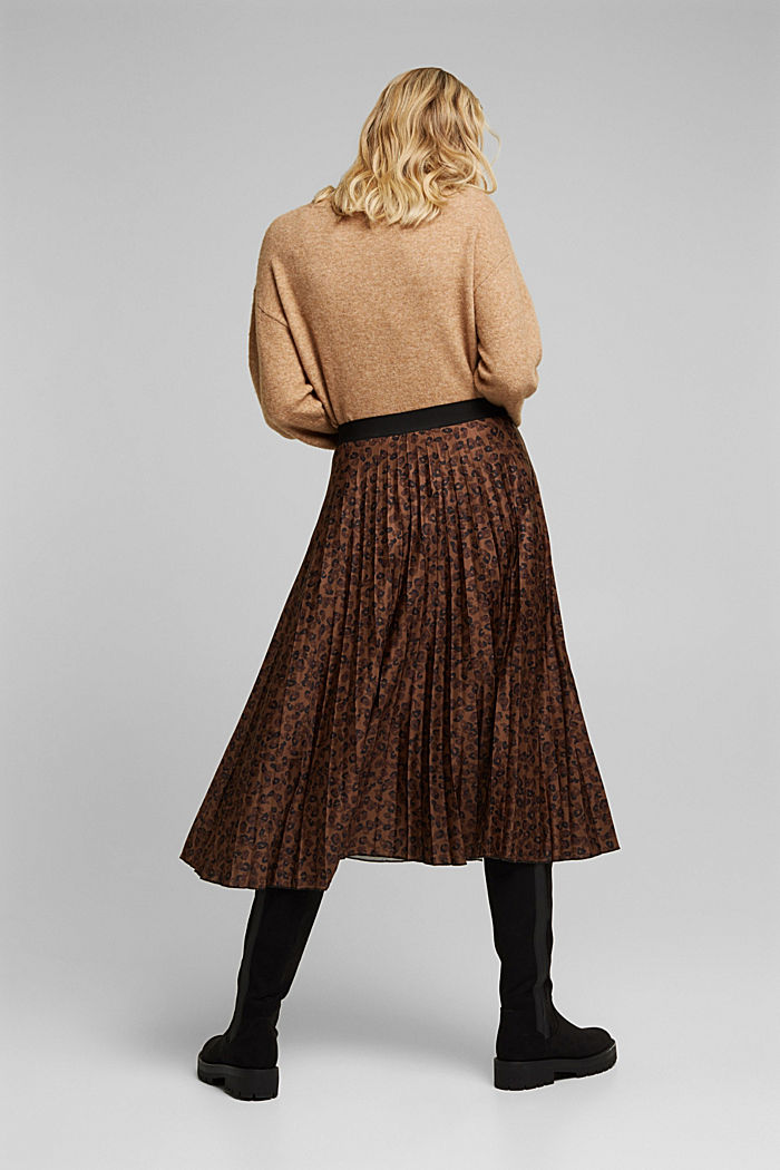 Pleated skirt with an animal print, TOFFEE, detail image number 3