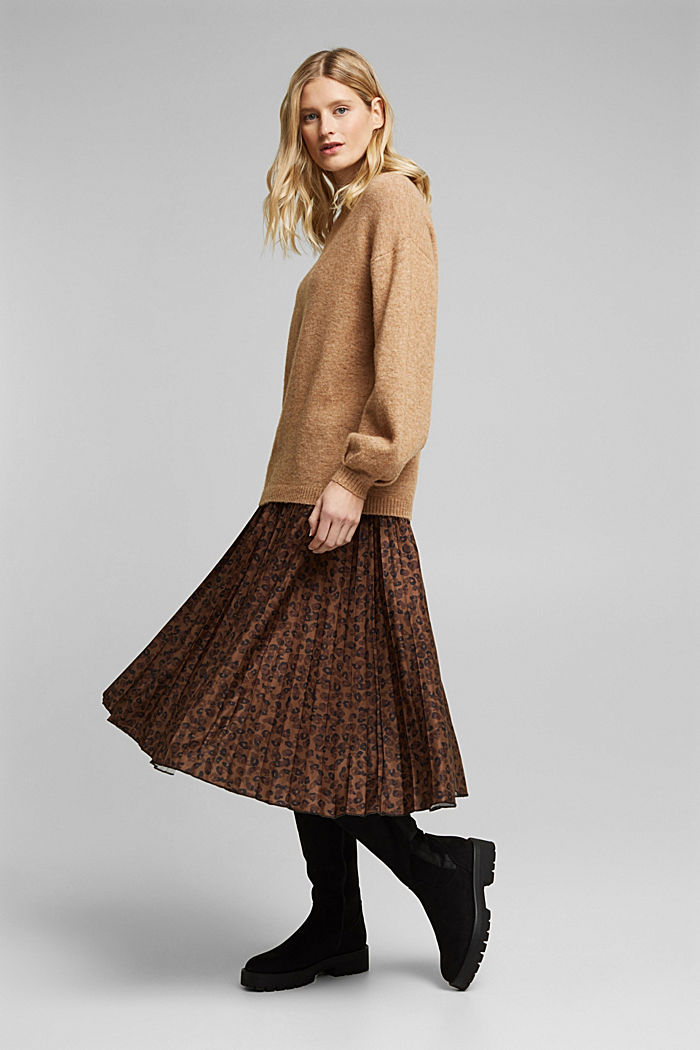 Pleated skirt with an animal print, TOFFEE, detail image number 1