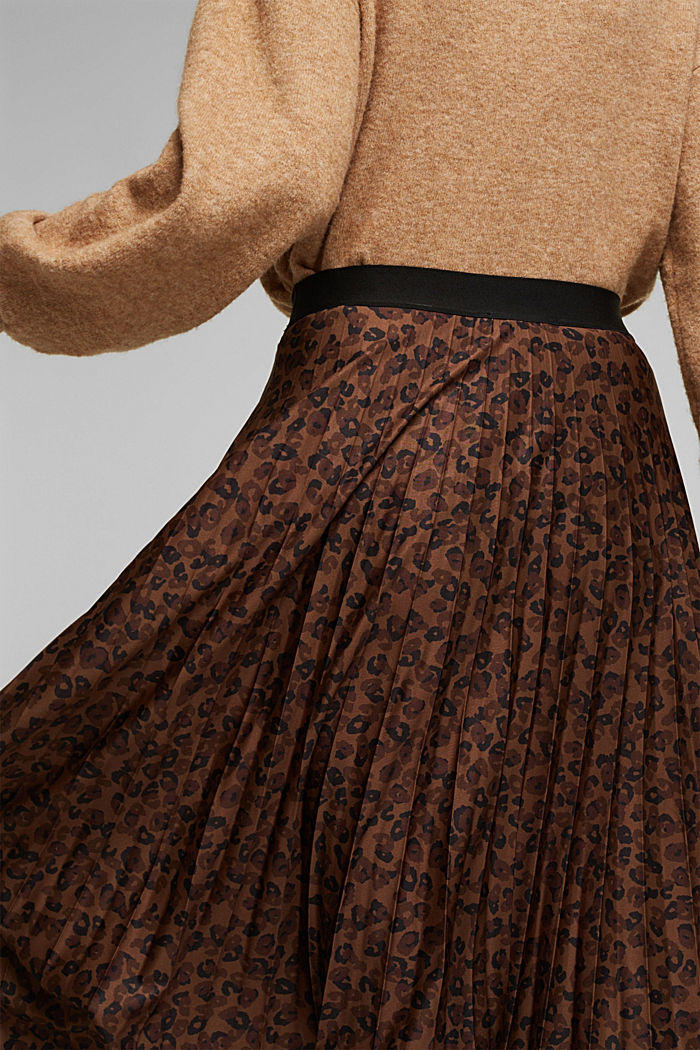 Pleated skirt with an animal print, TOFFEE, detail image number 2