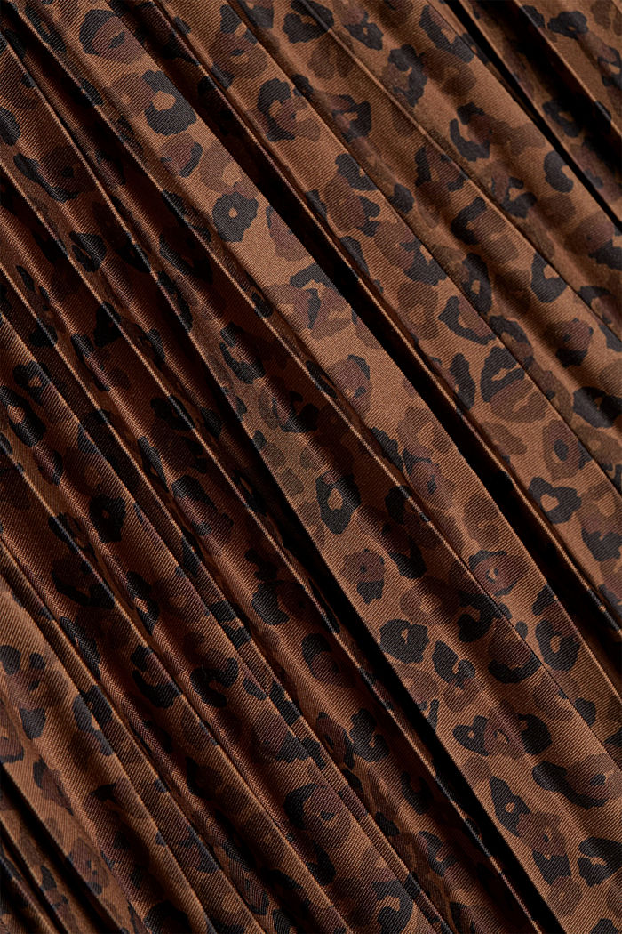 Pleated skirt with an animal print, TOFFEE, detail image number 4
