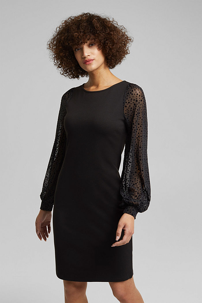 Jersey dress with mesh sleeves, BLACK, detail image number 0