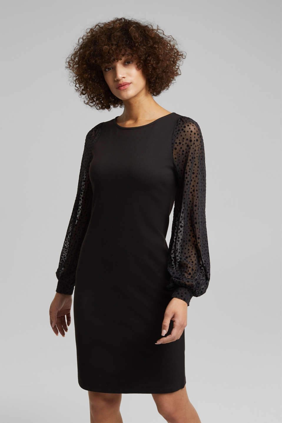 Esprit - Jersey dress with mesh sleeves