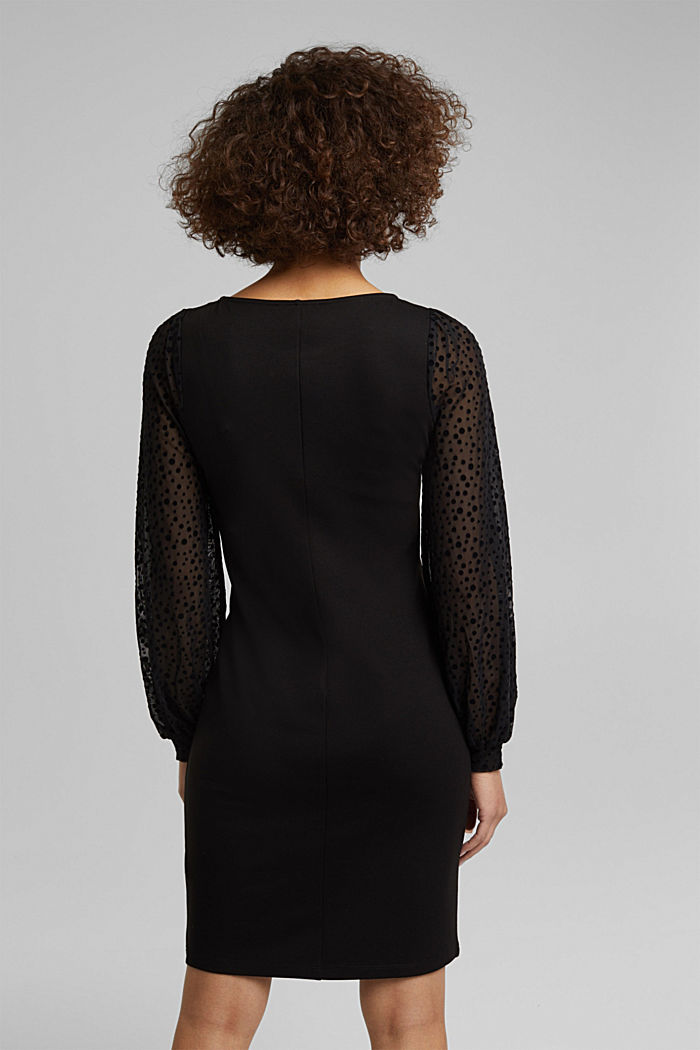 Jersey dress with mesh sleeves, BLACK, detail image number 2