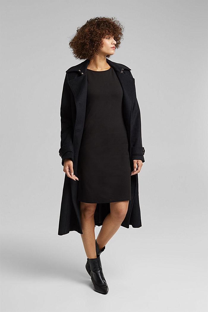Jersey dress with mesh sleeves, BLACK, detail image number 1