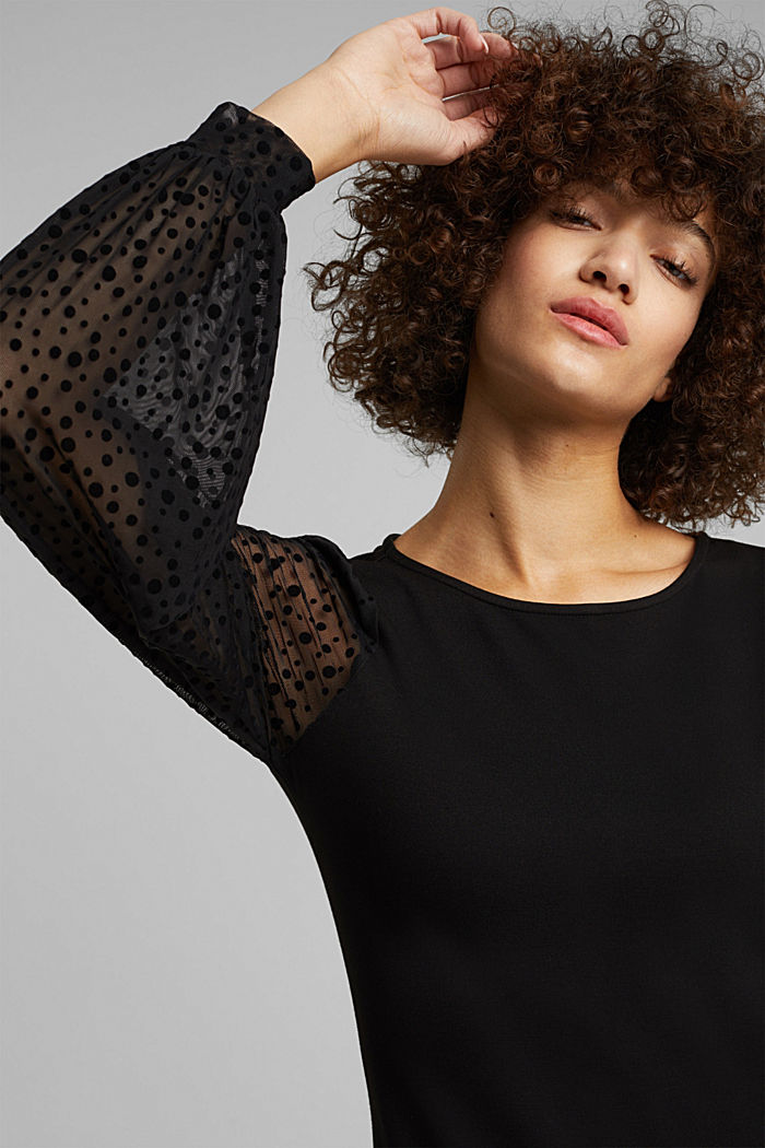 Jersey dress with mesh sleeves, BLACK, detail image number 5