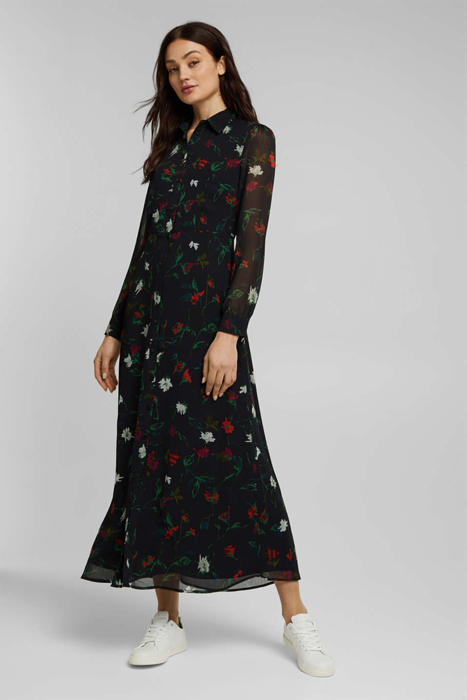 Esprit - Recycled: crinkle dress with a print