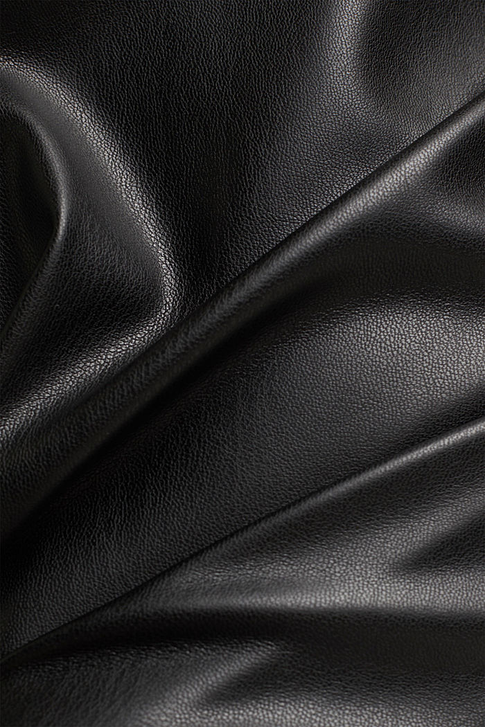 Jersey dress with faux leather skirt, BLACK, detail image number 4