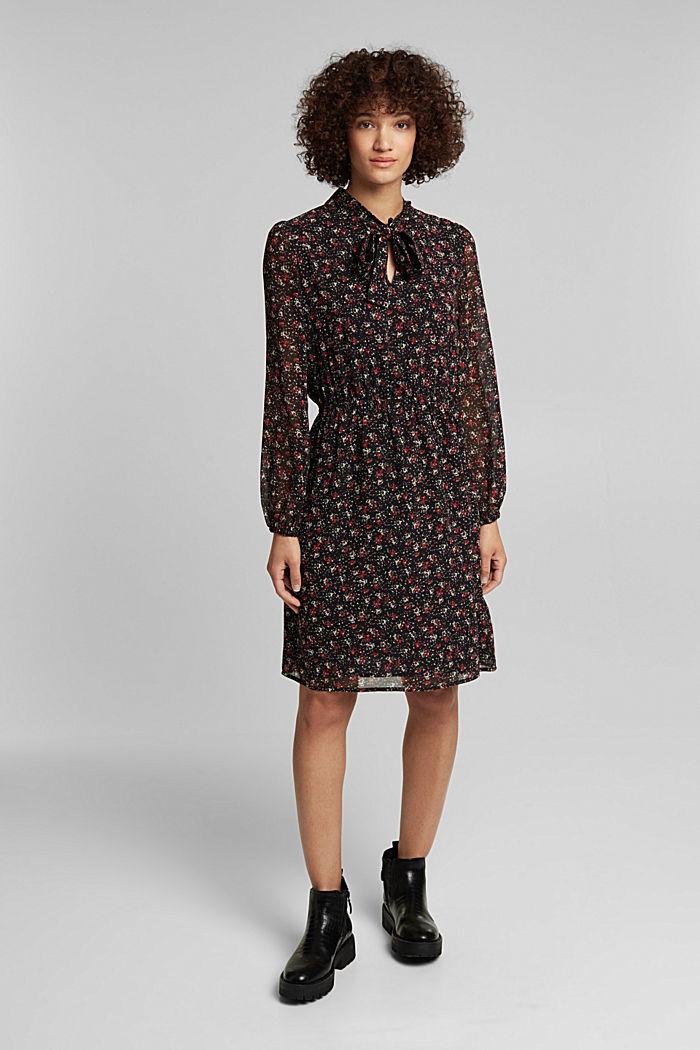 Print-Kleid mit Schluppe, BLACK, detail image number 1