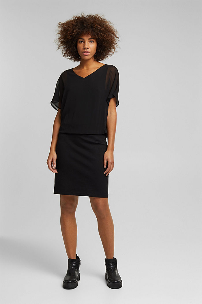 Recycled: chiffon dress with a jersey skirt, BLACK, detail image number 1